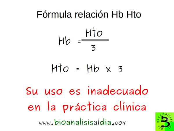 Fómula de la relación hemoglobina hematocrito