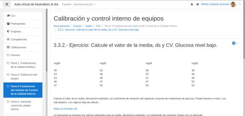 Ejercicio cálculo de valores asignados al material de control